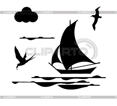 剪影的帆船 | 向量插图 |ID 3201463