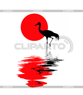 Silhouette of the crane on solar background | Stock Vector Graphics |ID 3201578
