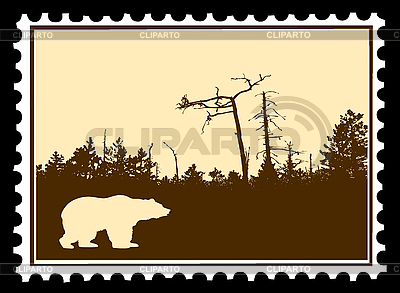 Silhouette of bear on postage stamp | Stock Vector Graphics |ID 3201666