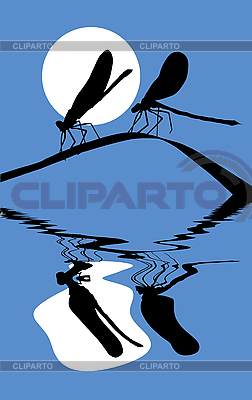 Silhouette two dragonflies on grass | Stock Vector Graphics |ID 3202388