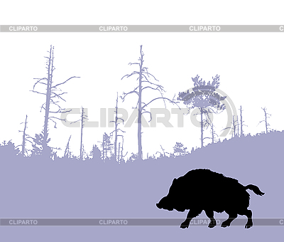Silhouette of the wild boar | Stock Vector Graphics |ID 3202530