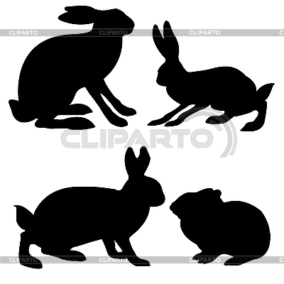 Silhouettes of hare and rabbit | Stock Vector Graphics |ID 3202592