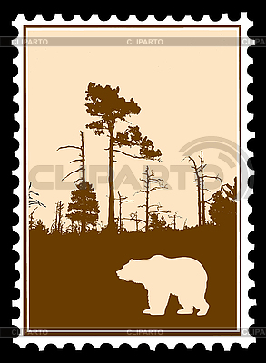 Silhouette of bear in forest on postage stamp | Stock Vector Graphics |ID 3203002