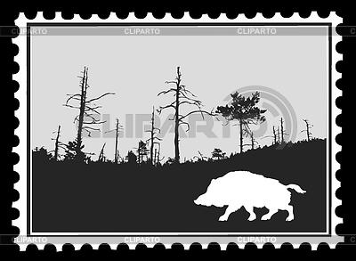 Silhouette eines Wildschweines auf einer Briefmarke | Stock Vektorgrafik |ID 3220914