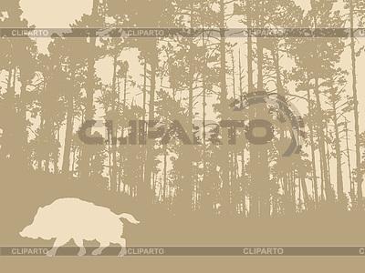 野猪木的背景上剪影 | 向量插图 |ID 3230639