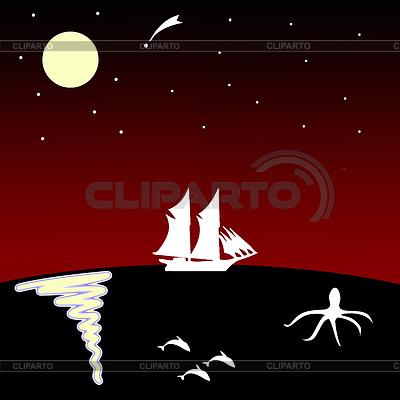 달에 바다에 배   높은 해상도 그림  ID 3245144