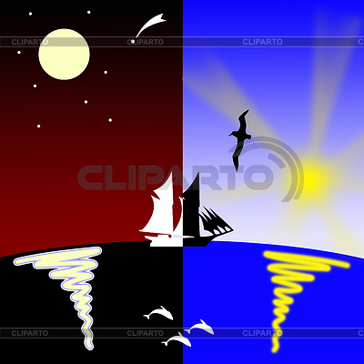 Ship on sea goes of night at day | High resolution stock illustration |ID 3245145
