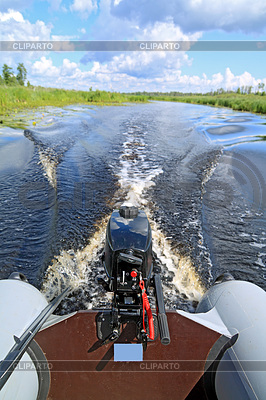 Motor boat on small river | High resolution stock photo |ID 3252228