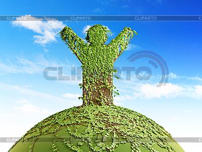 Символическое дерево в виде человека на планете | Иллюстрация большого размера |ID 3116120