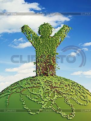 Symbolic tree man on the planet | High resolution stock illustration |ID 3160894