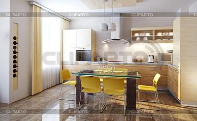 Moderne Küche Interieur 3d render | Illustration mit hoher Auflösung |ID 3267919