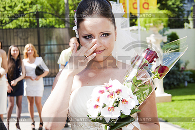 Emotional bride holding floral bouquet bridal   High resolution stock photo  ID 3239557
