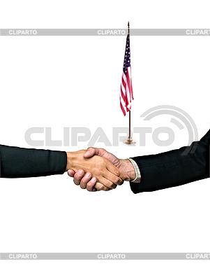 Hand shake and American flag   High resolution stock photo  ID 3240555
