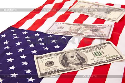Dollars on american flag | High resolution stock photo |ID 3240939