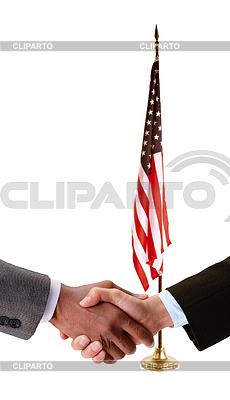 Hand shake and American flag   High resolution stock photo  ID 3241405