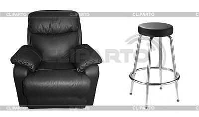 Schwarzes Sofa und Ledersessel | Foto mit hoher Auflösung |ID 3241636