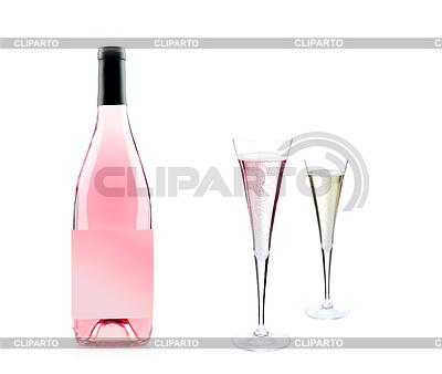 Różowa butelka szampana i szkła | Foto stockowe wysokiej rozdzielczości |ID 3242028