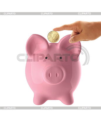 Hand putting coin into pink piggy bank   High resolution stock photo  ID 3345364