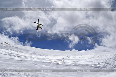 Freestyle ski jumper with crossed skis | High resolution stock photo |ID 3117672