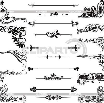 Art Nouveau ornament corners and dividers | Stock Vector Graphics |ID 3179218