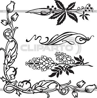 jugendstil ornamente und ecken stock vektorgrafik cliparto. Black Bedroom Furniture Sets. Home Design Ideas