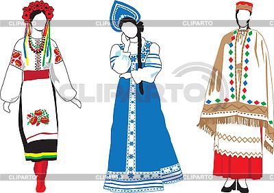 Slawische Mädchen in Trachten | Stock Vektorgrafik |ID 3187711