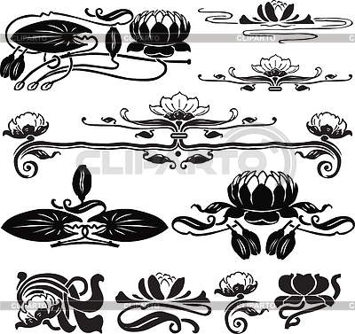 Vignettes with water lily | Stock Vector Graphics |ID 3263555
