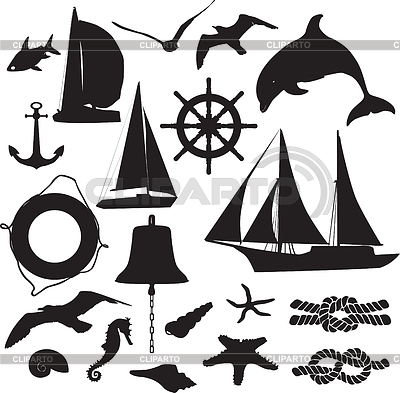 Set of silhouettes symbolizing the marine leisure | Stock Vector Graphics |ID 3267901