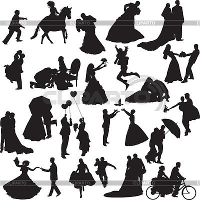 Silhouetten der Hochzeitspaare in verschiedenen Situationen | Stock Vektorgrafik |ID 3286459