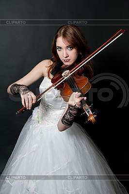 Girl in white dress with violin | High resolution stock photo |ID 3121689
