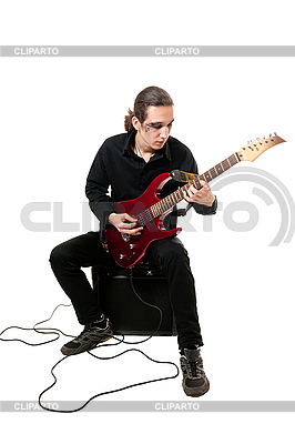 Guitarist with red guitar | High resolution stock photo |ID 3121700