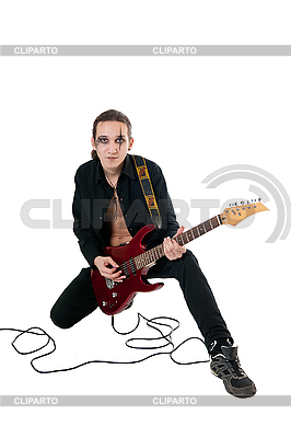 Guitarist with red guitar   High resolution stock photo  ID 3121719