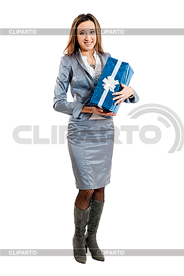 Young girl in suit with gift | High resolution stock photo |ID 3121731