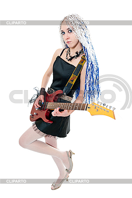 Girl guitarist with red guitar | High resolution stock photo |ID 3121749
