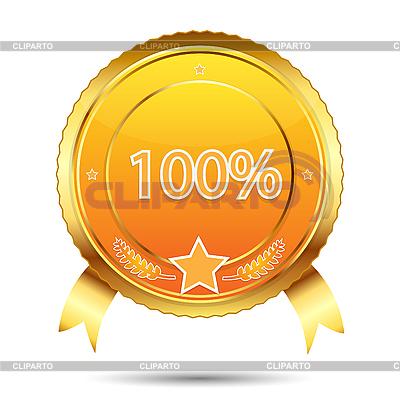 100 Prozent Garantie - goldenes Etikett | Stock Vektorgrafik |ID 3124295