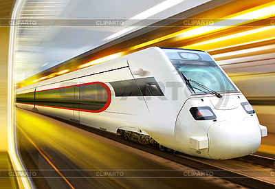 High-speed train in tunnel | High resolution stock photo |ID 3125543