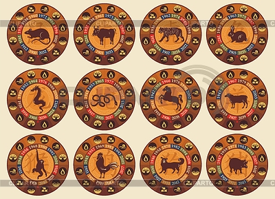 Chinese Zodiac Set | Stock Vector Graphics |ID 3338591
