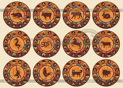 Conjunto chino del zodiaco | Ilustración vectorial de stock |ID 3338591