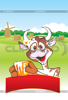 Cow with milk pot | Stock Vector Graphics |ID 3125962