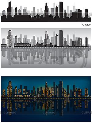 芝加哥的天际线 | 向量插图 |ID 3126036