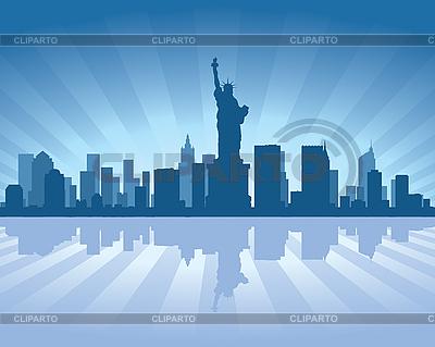 Nueva York horizonte de la ciudad | Ilustración vectorial de stock |ID 3126048