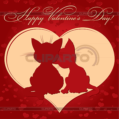 Valentine`s day card with cats   Stock Vector Graphics  ID 3128740