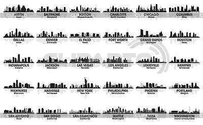 Incredible set of USA city skylines. 30 cities | Stock Vector Graphics |ID 3179091