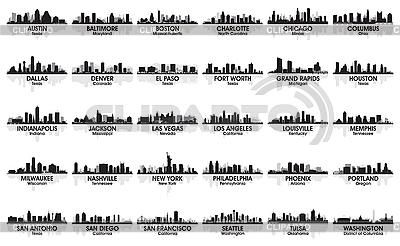 令人难以置信的一套美国城市的轮廓。 30个城市 | 向量插图 |ID 3179091