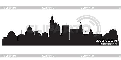 密西西比州杰克逊市的天际线。详细剪影 | 向量插图 |ID 3201373