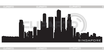 Singapore, Asia skyline. Detailed silhouette | Stock Vector Graphics |ID 3201405