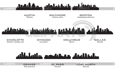 Silhouettes of the USA cities | Stock Vector Graphics |ID 3221711