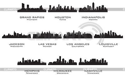 Silhouettes of the USA cities | Stock Vector Graphics |ID 3221713