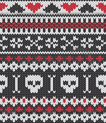 Knitted pattern with skulls   Stock Vector Graphics  ID 3146392