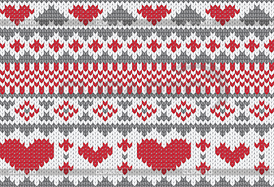 Knitted pattern with hearts | Stock Vector Graphics |ID 3153579